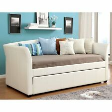 Furniture of America Roby Leatherette Daybed with Trundle, White, Twin