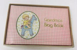 Vintage Grandma's Brag Book Photo Album Snapshot Book Pink Gingham Orig. Box