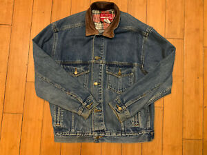 vintage marlboro denim jacket With Brown Genuine Leather Collar Size Small