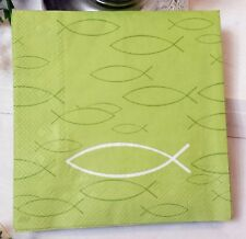 20 Servietten Kommunion Ichthy Fisch Light Green IHR 33x33