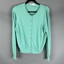 M&S Size 22 Light Jade Green Diamante Round Neck Cardigan With Angora Cashmere