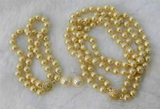 2 Rows Gold 8mm Sea Shell Pearl Necklace Bracelet, 12MM BIG Earring Set AAA