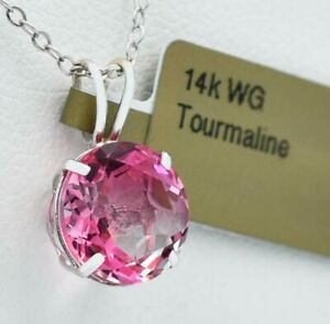 GEMSTONE  2.55 Cts PINK TOURMALINE PENDANT 14k WHITE GOLD * New With Tag *