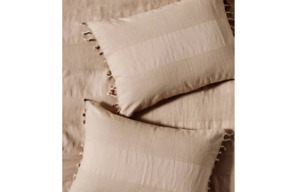 Anthropologie Shams Pillow Standard Linen Stripe Relaxed Blush Set Bedding New