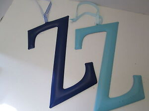 """Initial Wall Hanger, Letter """"Z"""" by Mud Pie, Blue or Aqua, NEW"""