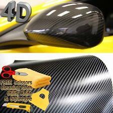 """72"""" x 60"""" Premium 4D Gloss Black Carbon Fiber Vinyl Wrap Bubble Free Air Release"""