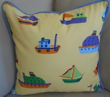 NEW 45cm NAUTICAL BOATS Reversible Yellow / Blue stripe LARGE SQ Cushion covers