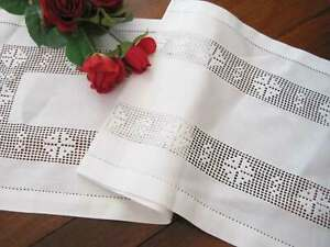 England Style Wide Hand Hemstitch Inserted 100% Linen White Table Runner
