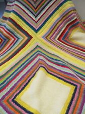 LARGE Vintage Style Granny Crocheted Knitted Blanket Throw Bed Hand Made NEW!