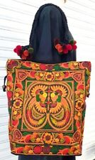 Thai Hmong Handmade Tribe Bags Tote Shoulder Bag Bird Embroidered Yellow Color