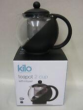 New Cks Kilo Glass Teapot  With Infuser 2 Cup Black Body Tea Pot D06