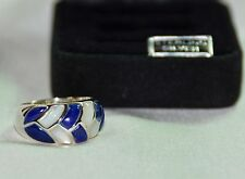 BLUE LAPIS & MOTHER OF PEARL DOME INLAID BAND RING Sterling Silver 925 z7 NIB