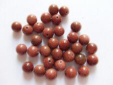 8pz perline  in pietra del sole tondo 8mm colore marrone