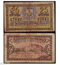 BILLETE LOCAL - ALICANTE - 25 CTS. AÑO 1938 - SERIE C - BC