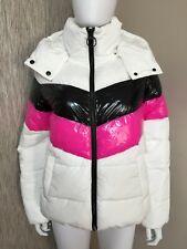 DKNY Sport Blanc Deux Ton Rayure Doudoune Hydrofuge TAILLE S Neuf avec Étiquette