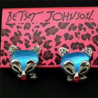 New Betsey Johnson Silver Plated Blue Crystal Fox Earrings
