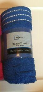 """Beach Towel 100% Cotton Mainstays 27"""" x 58"""" Cobalt Blue Or Tropical Blossom Pink"""