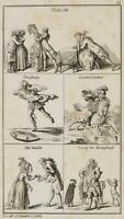 CHODOWIECKI (1726-1801). 1-6. Blatt zu Erasmus' Lob der Narrheit; Druckgraphik