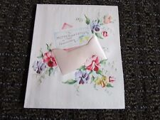 Vintage Greeting Card Anniversary Parents Pink Satin Pillow Flowers UNUSED