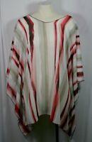 Plus size poncho style top/tunic,striped, off-white w/red/green,size 1X-2X,3X-4X