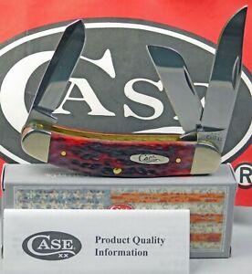 Case XX Bose Crimson Red Bone Peach Seed Jigged Sowbelly Pocket Knife