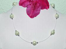 Perlenkette Fb. Weiß Perlen Collier Halskette Schmuck Brautschmuck Modeschmuck