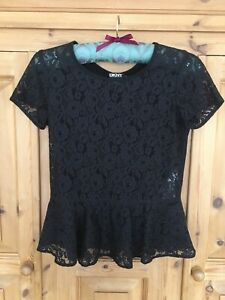 DKNY Black Lace Top Peplum Detail Lovely Condition Size P Extra Small XS