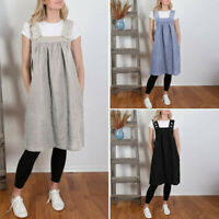 Women Linen Blend Tunic Dress Casual Apron With Pockets Japanese Style Pinafore