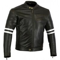 Australian Bikers Gear Men's Retro Vintage Cafe Racer Motorcycle Leather Jacket