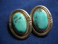 Silver turquoise chunky Earrings Native American Estate 925 Sterling