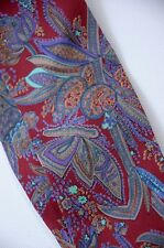 "Gorgeous Vintage Ornate Paisley Floral Silk Ascot Cravat Tie 2.25"" Made in USA"