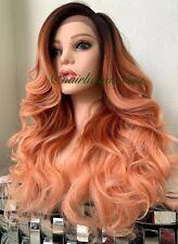 "Pastel Orange Wig Ombré Mix Wavy Layered Lace Front Heat Resistance Ok 24"" Long"