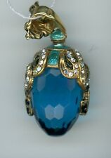 with snake like decor w/clear stones Russian Faux Egg Pendant, Blue Gem