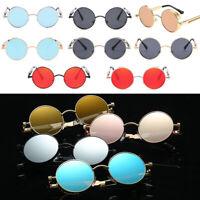 Vintage Black Frame Polarized Steampunk Sunglasses Fashion Round Mirrored Retro