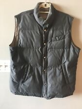 Brunello Cucinelli Reversible Men's Down Vest, size XL, Grey/tan