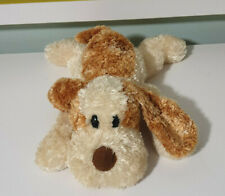 AURORA BROWN AND TAN DOG FILLED WITH BEANS STUFFED ANIMAL 28CM LONG