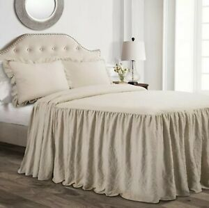 Lush Decor Ruffle Skirt Neutral 3 piece Queen Bedspread Set Farmhouse Shabby