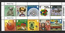 GREAT BRITAIN 2017 CLASSIC TOYS  SET OF 10 IN 2 STRIPS WITH TITLES