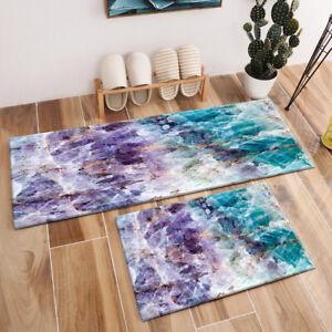 Purple & Turquoise Quartz Stone Pattern Area Rugs Bedroom Living Room Floor Mat