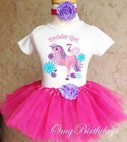 Unicorn Pink Purple Girl 7th Seventh Birthday Tutu Shirt Outfit Set Party Dress