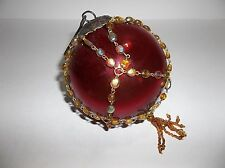 Vintage KUGEL Christmas Tree Ornament RED Glass Multi Color BEADS 4""