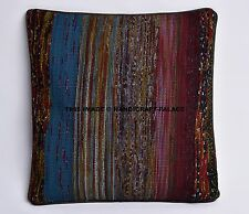 """16"""" COLORFUL STRIPED DHURRIE DECORATIVE THROW PILLOW CUSHION COVER Boho Moroccan"""