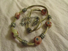 "Beige Fabric Cord & Pink Flowers Painted on Stone Necklace - 15-18"" long"