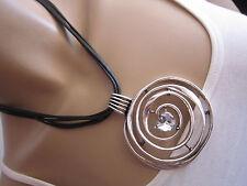 Damen Collier Hals Kette kurz Modekette Modeschmuck Schwarz Silber Spirale Herz