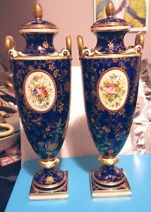 Pair Minton England Cobalt Gold Hand Painted Vases