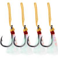 5PCS Powerful BKB Assist Feather Hook Double Jigging Hooks Sharp Fishhook 13-15#