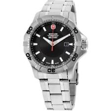 WENGER Swiss Army MEN'S STEEL BRACELET  QUARTZ BLACK DIAL WATCH 01.1241 20