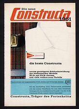 3w907/ Alte Reklame - von 1961 - CONSTRUCTA Waschmaschinen - Lintorf