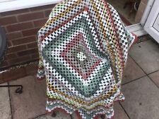 Handmade crochet square blanket in browns/greens, Lap Blanket/chair throw