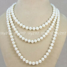 Beautiful Natural 6-7mm white freshwater cultured pearl beads necklace long 50''